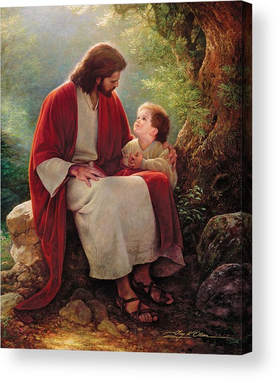 Jesus Acrylic Print featuring the painting In His Light by Greg Olsen
