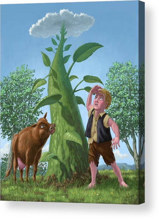 Jack Acrylic Print featuring the painting Jack And The Beanstalk by Martin Davey