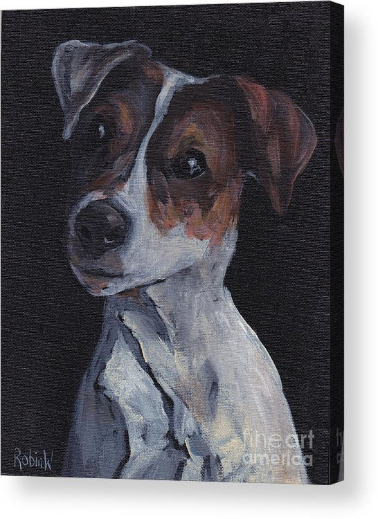 Jack Russell Acrylic Print featuring the painting Jack Black by Robin Wiesneth
