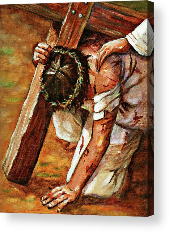 Jesus Acrylic Print featuring the painting Jesus Falls by Dorothy Riley