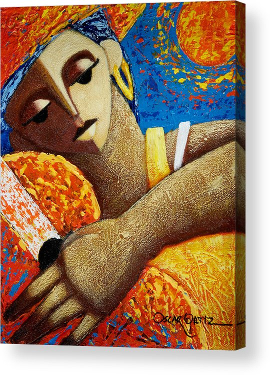 Puerto Rico Acrylic Print featuring the painting Jibara Y Sol by Oscar Ortiz
