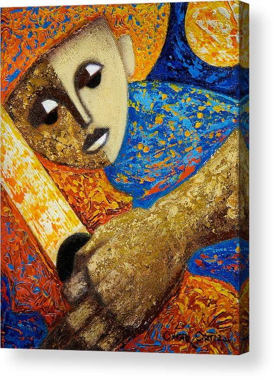 Color Acrylic Print featuring the painting Jibaro Y Sol by Oscar Ortiz