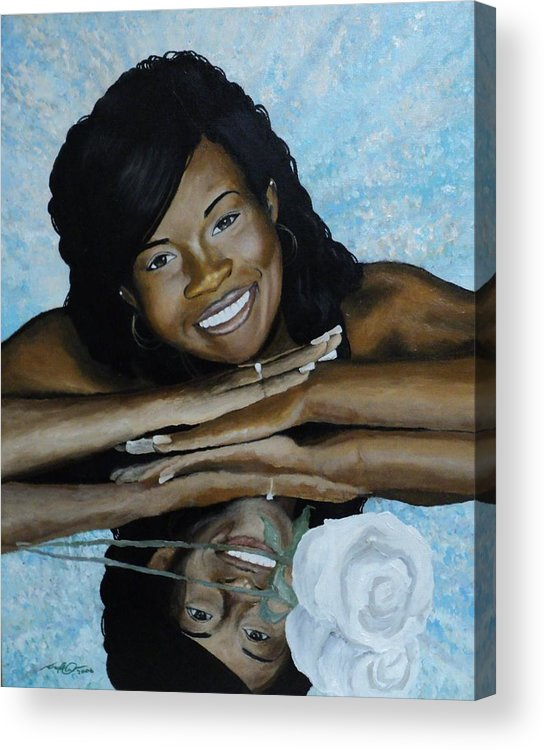 Portrait Acrylic Print featuring the painting Kera by Angelo Thomas