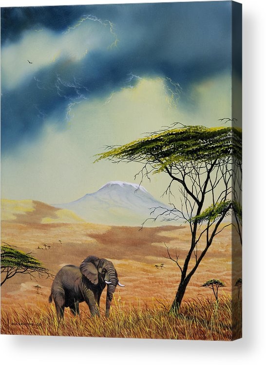Landscape Acrylic Print featuring the painting Kilimanjaro Bull by Don Griffiths