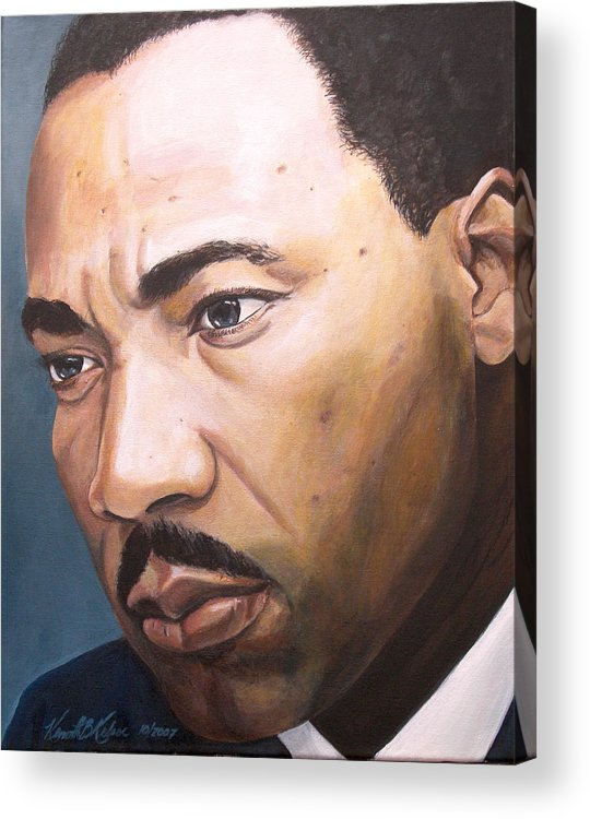 Portrait Acrylic Print featuring the painting King by Kenneth Kelsoe