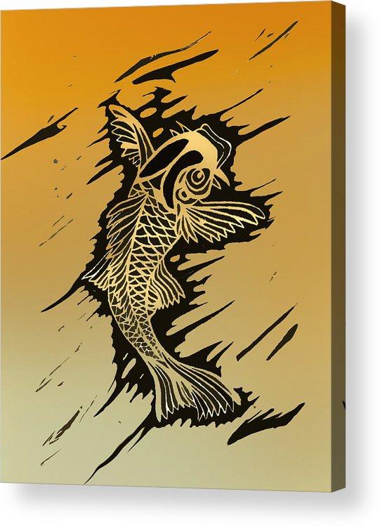 Linoleum Prints Acrylic Print featuring the painting Koi 2 by Jeff DOttavio