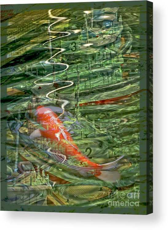 Koi Acrylic Print featuring the digital art Koi Boats by Chuck Brittenham