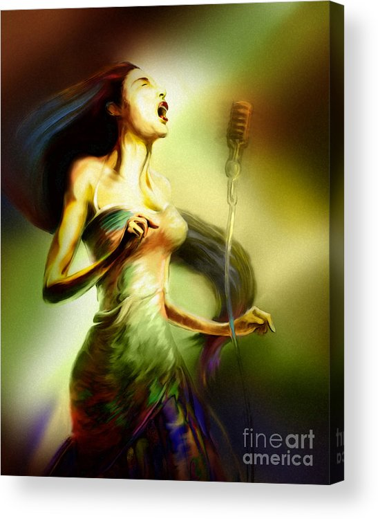Jazz Art Acrylic Print featuring the painting Lady Sings The Blues by Mike Massengale