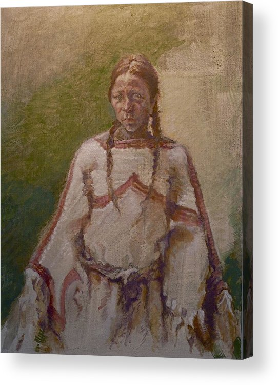 One Wnative American Acrylic Print featuring the painting Lakota Woman by Ellen Dreibelbis