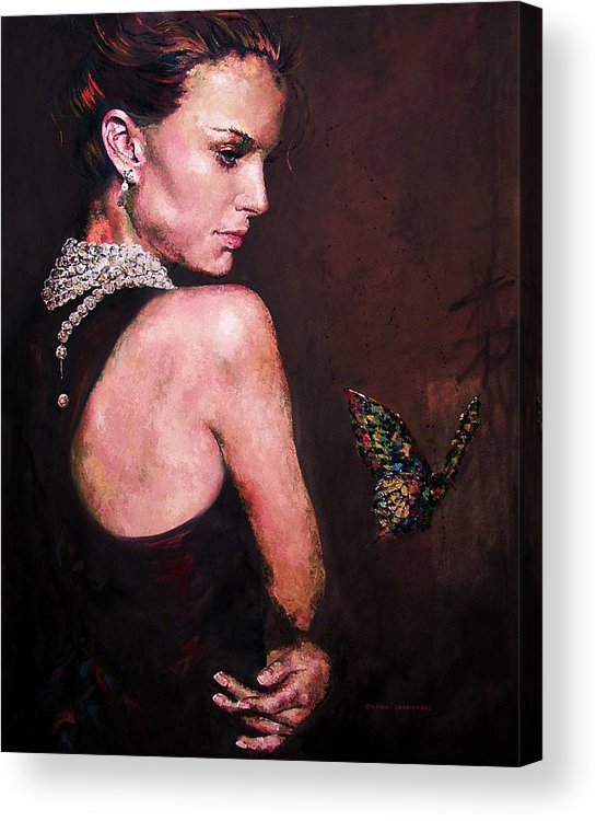Butterfly Acrylic Print featuring the painting Leap Of Faith by Claudia Lardizabal