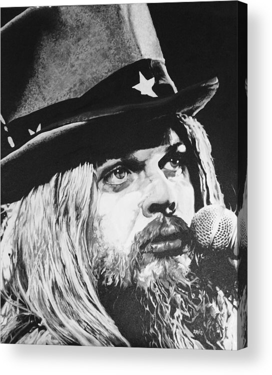 Acrylic Acrylic Print featuring the painting Leon Russell Portrait by Amanda Davis