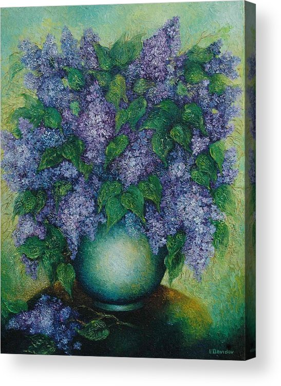 Flowers Acrylic Print featuring the painting Lilacs No 2. by Evgenia Davidov