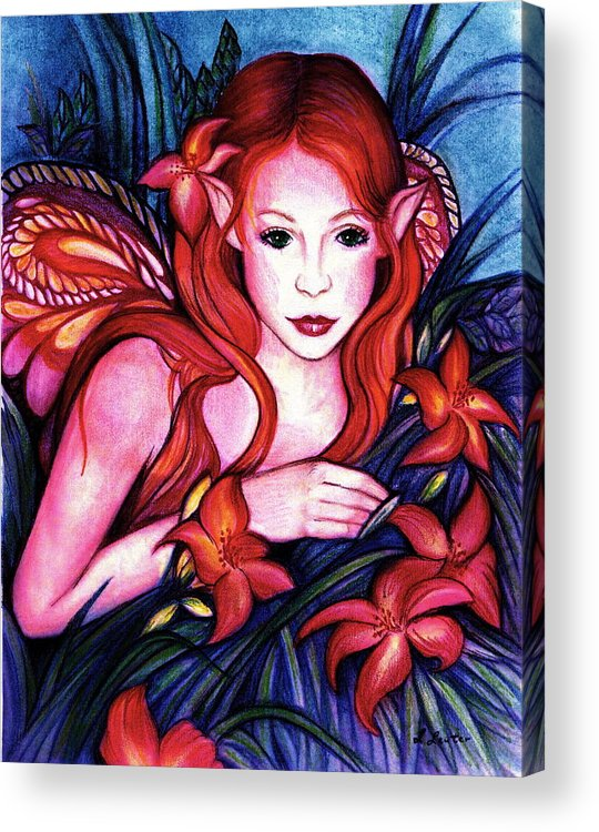 Fairy Acrylic Print featuring the painting Lillyfaire by L Lauter
