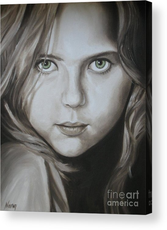 Portrait Acrylic Print featuring the painting Little Girl With Green Eyes by Jindra Noewi
