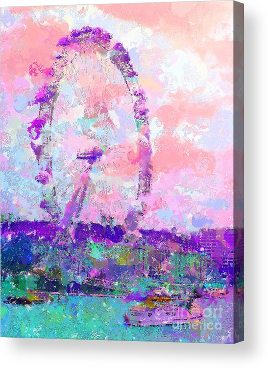 London Acrylic Print featuring the mixed media London Eye by Marilyn Sholin
