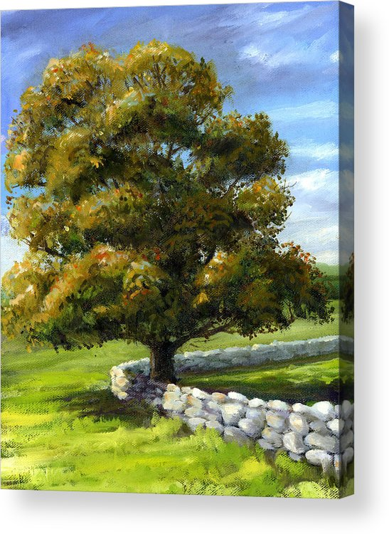 Landscape Acrylic Print featuring the painting Lone Tree And Wall by Laurie McGinley
