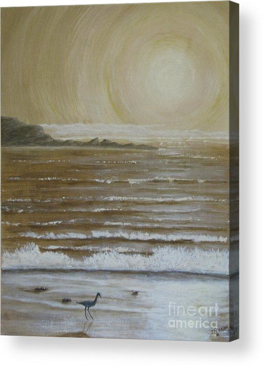 Beach Acrylic Print featuring the painting Lonely Beach Sunrise by Dana Carroll