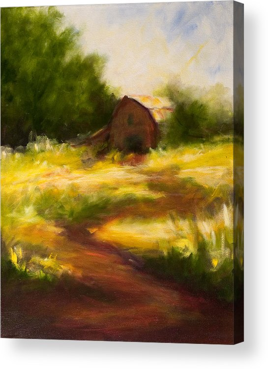 Landscape Acrylic Print featuring the painting Long Road Home by Shannon Grissom