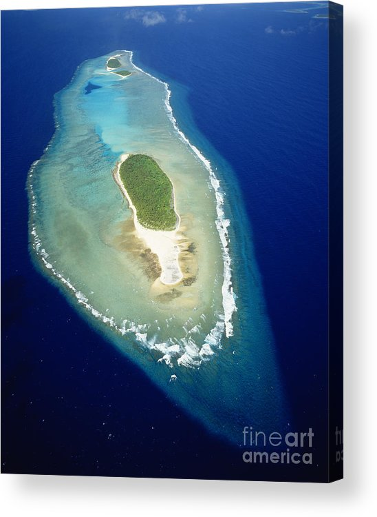 Aerial Acrylic Print featuring the photograph Losiep Atoll by Mitch Warner - Printscapes