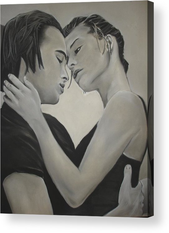 Charcoal Acrylic Print featuring the drawing Love And Longing by Kerra Lindsey