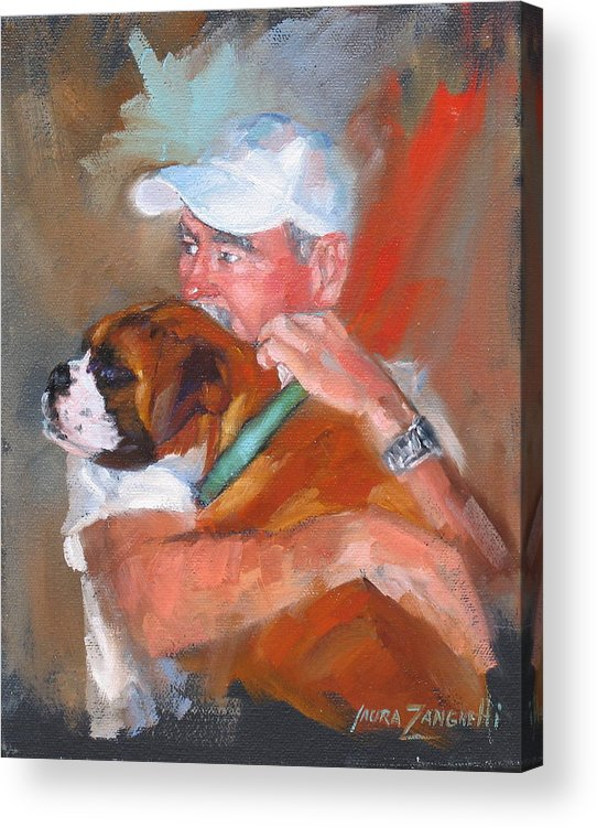 Oil Painting Acrylic Print featuring the painting Loving Roxie by Laura Lee Zanghetti