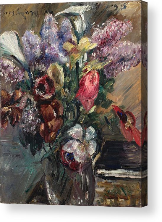 Lovis Corinth 1858 Tapiau Acrylic Print featuring the painting Lovis Corinth 1858 Tapiau Ostpreuben 1925 Zandvoort Holland Still Life With Lilac Calla And Tuli by Celestial Images