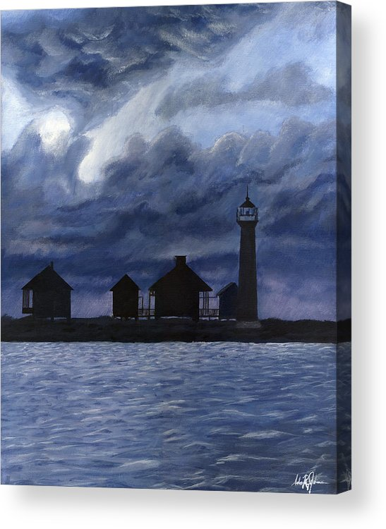 Landscape Acrylic Print featuring the painting Lydia Ann Lighthouse by Adam Johnson