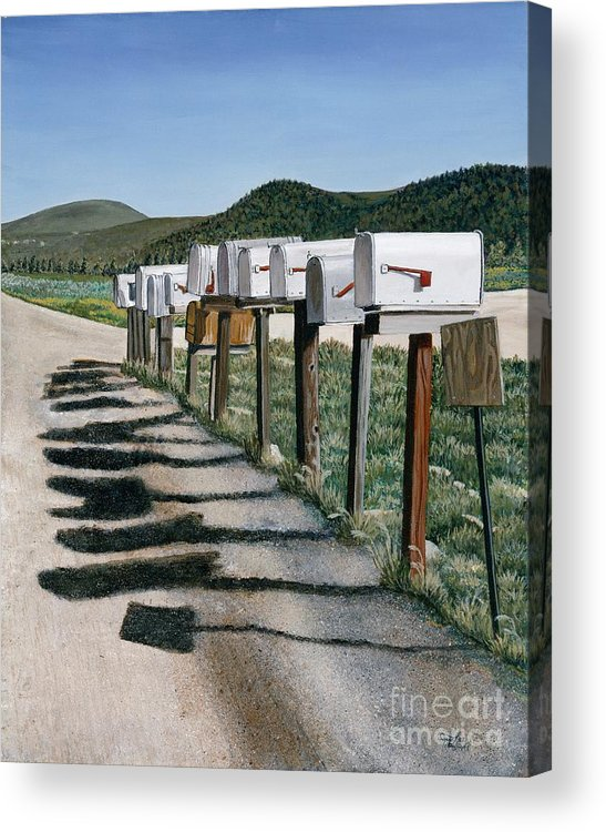 Mail Boxes Acrylic Print featuring the painting Mail Boxes by Jiji Lee