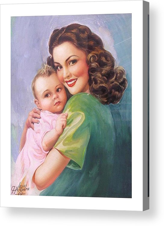 Mom Acrylic Print featuring the painting Mama by Jesus Helguera