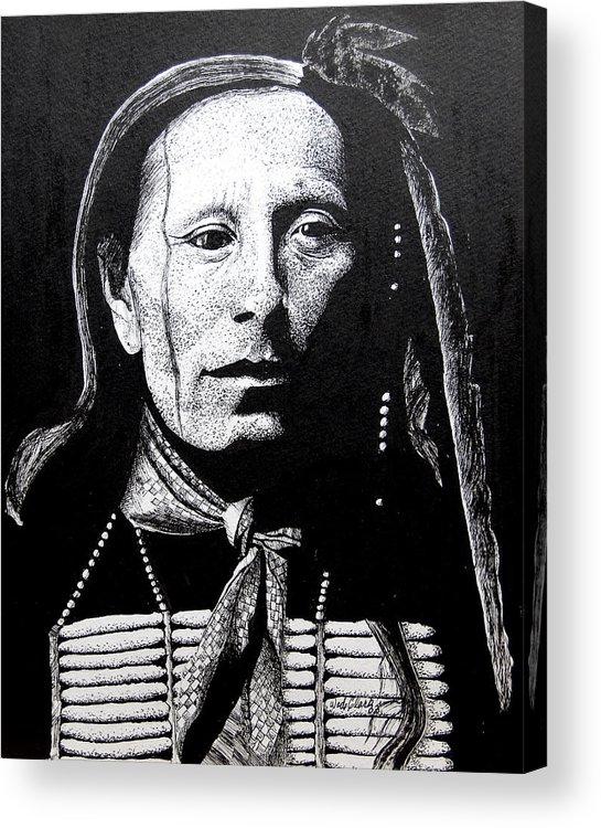 Portrait Acrylic Print featuring the drawing Man Afraid Of His Horses by Wade Clark