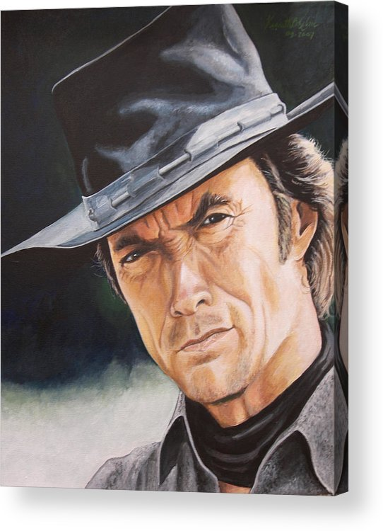 Cowboy Acrylic Print featuring the painting Man With No Name by Kenneth Kelsoe