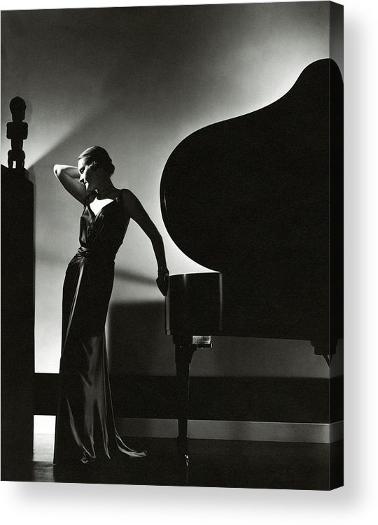 Fashion Acrylic Print featuring the photograph Margaret Horan Posing Beside A Piano by Edward Steichen