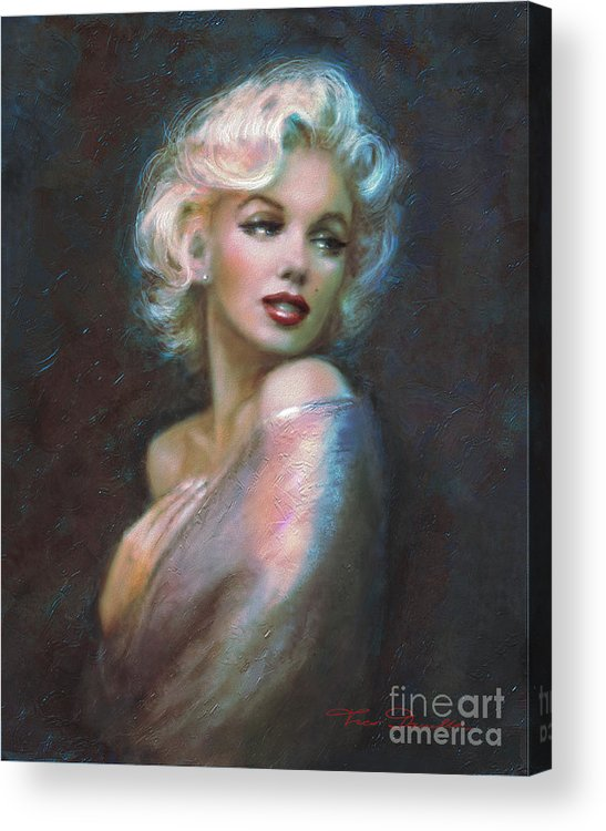 Marilyn Acrylic Print featuring the painting Marilyn Romantic Ww Dark Blue by Theo Danella
