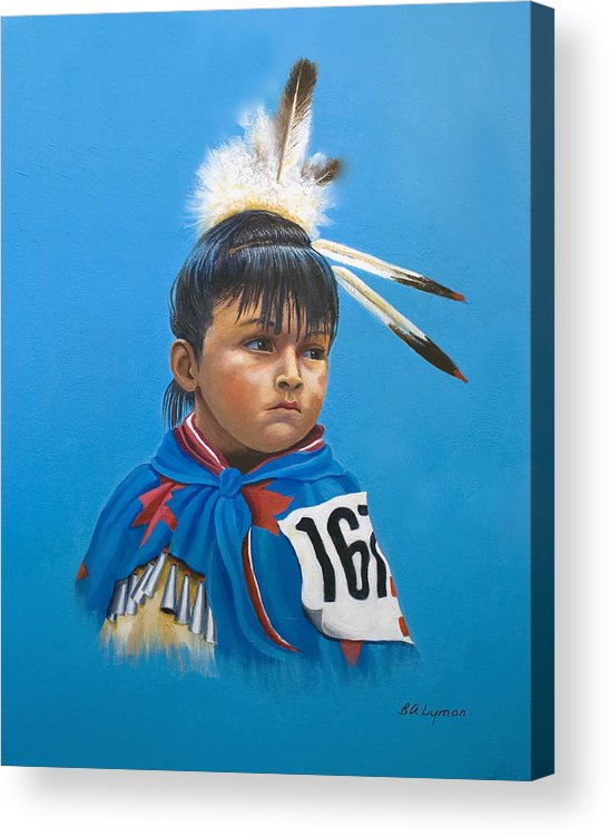 Native American Indian Dancing Girl Acrylic Print featuring the painting Maybe Next Time by Brooke Lyman