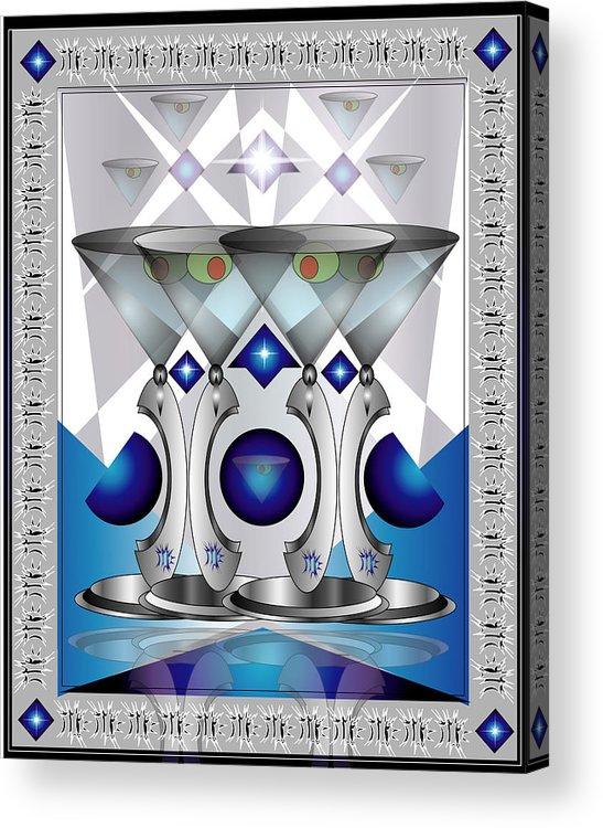 Martini Acrylic Print featuring the digital art Metal Martinis by George Pasini
