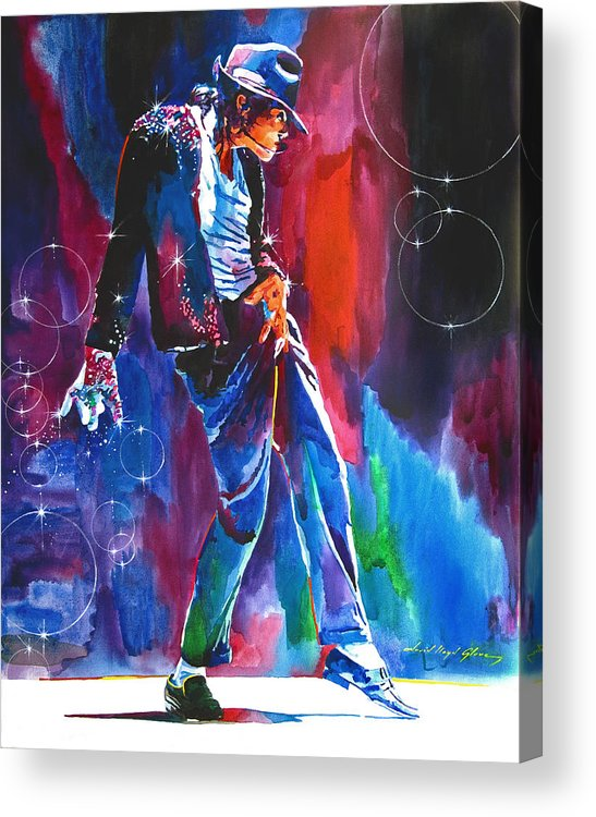 Michael Jackson Acrylic Print featuring the painting Michael Jackson Action by David Lloyd Glover