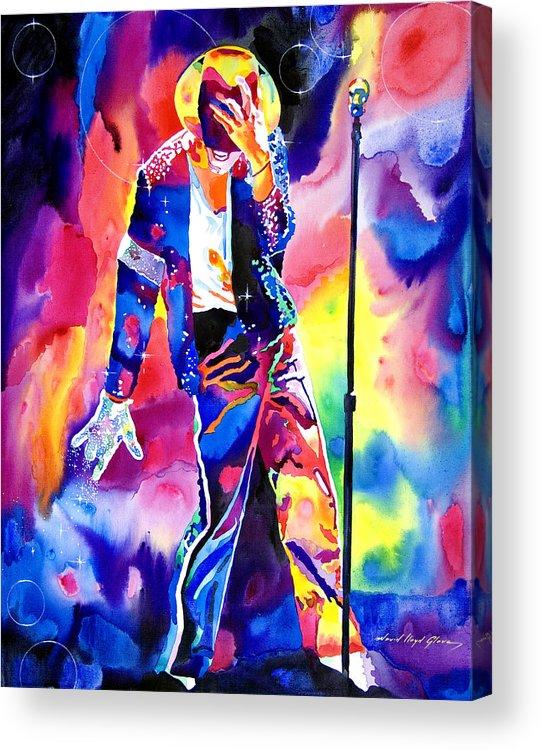 Michael Jackson Acrylic Print featuring the painting Michael Jackson Sparkle by David Lloyd Glover