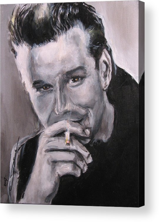 Mickey Rourke Acrylic Print featuring the painting Mickey Rourke by Eric Dee