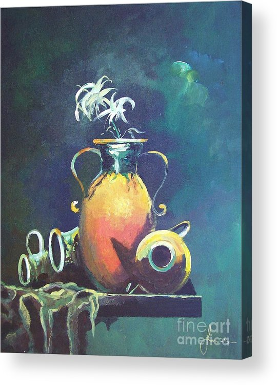 Still Life Acrylic Print featuring the painting Midnight Moon by Sinisa Saratlic