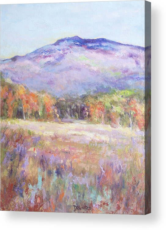 Landscape Acrylic Print featuring the painting Monadnock In Spring Color by Alicia Drakiotes