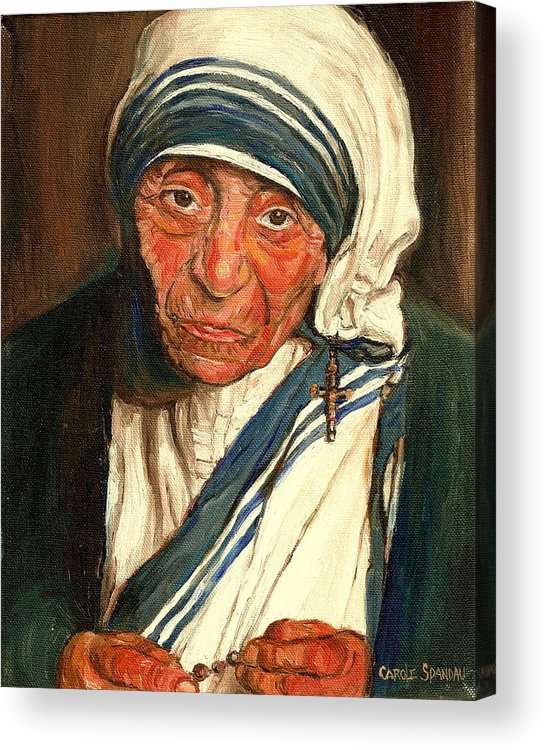 Mother Teresa Acrylic Print featuring the painting Mother Teresa by Carole Spandau