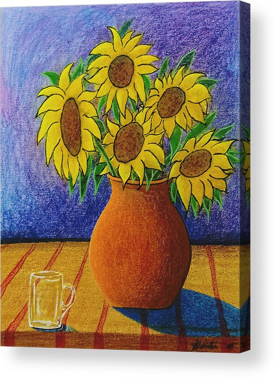 Wax Acrylic Print featuring the painting My Sunflowers by Arnold Isbister