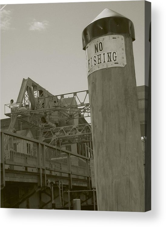 Mystic Acrylic Print featuring the photograph Mystic Drawbridge No Fishing by Heather Weikel