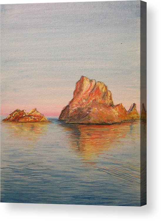 Island Acrylic Print featuring the painting Mystical Island Es Vedra by Lizzy Forrester