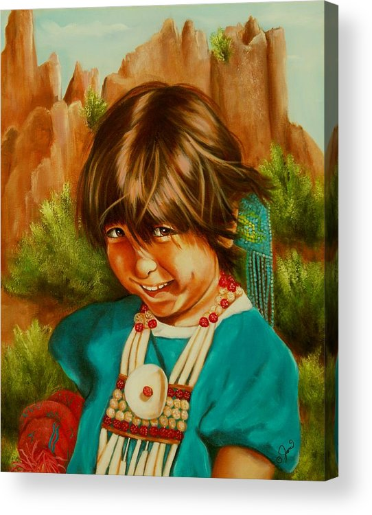 Portrait Acrylic Print featuring the painting Native American Girl by Joni McPherson
