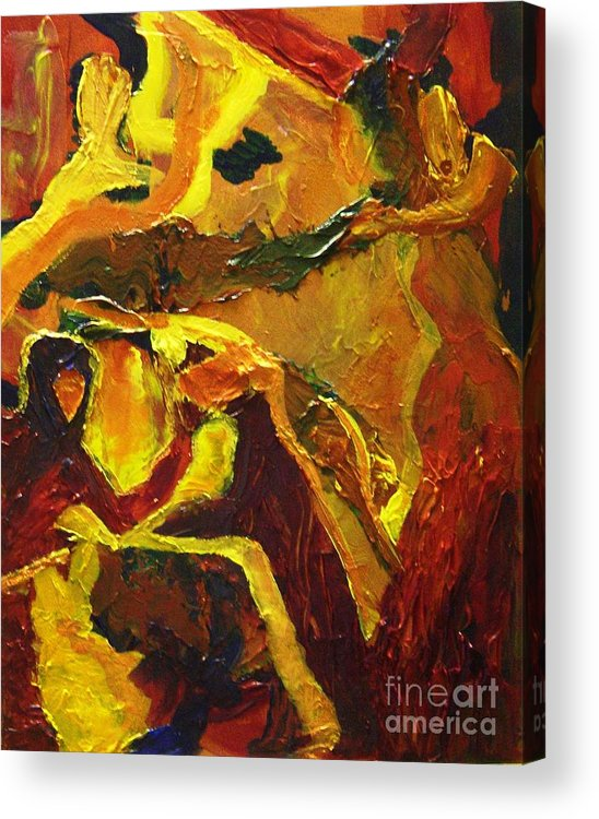 Struggle Acrylic Print featuring the painting Nature Vs Man by Karen L Christophersen