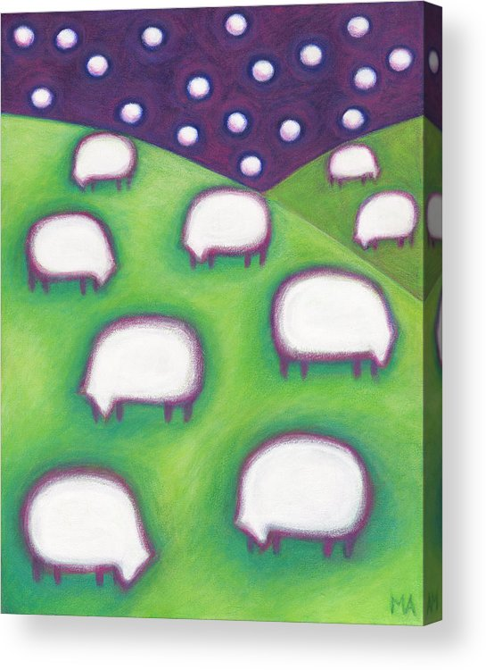 Whimsical Acrylic Print featuring the painting Night Light by Mary Anne Nagy