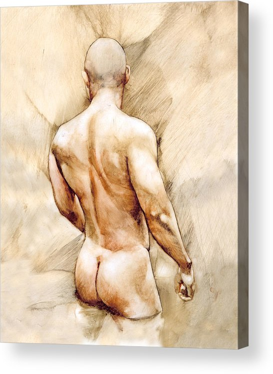 Man Acrylic Print featuring the painting Nude 40 by Chris Lopez