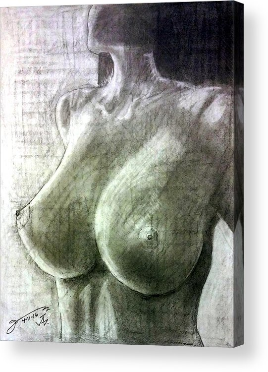 Nude Acrylic Print featuring the drawing Nude Woman V by Jose A Gonzalez Jr