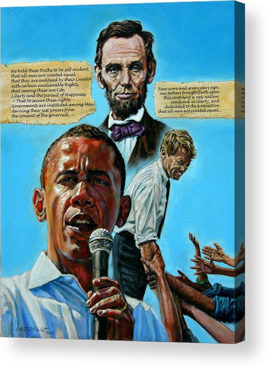 Obama Acrylic Print featuring the painting Obamas Heritage by John Lautermilch